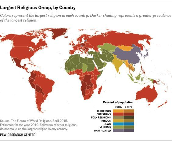 Largest Religious Group by Country: