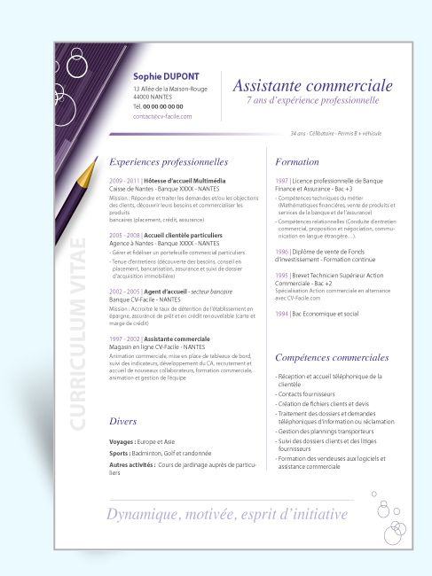 resume sur cv assistante commerciale