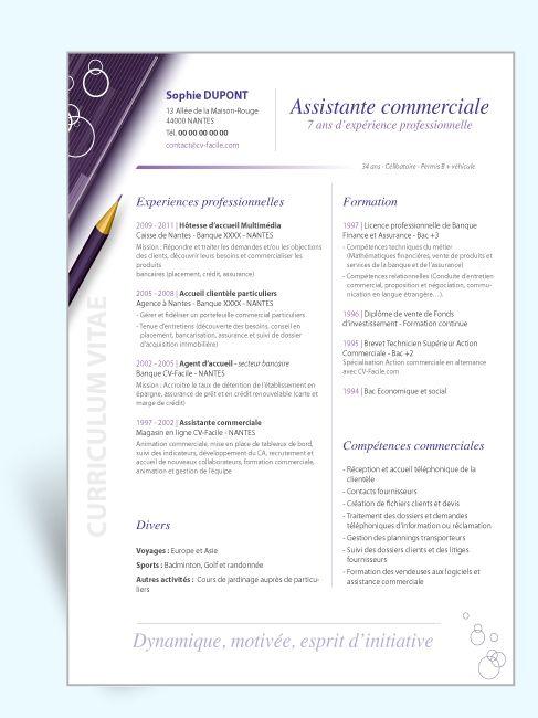 modele cv word assistante commerciale