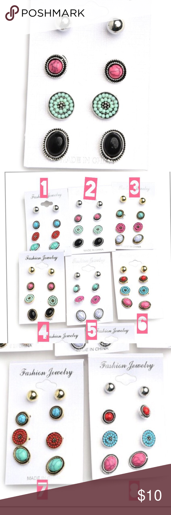 4 pair gemstone earrings. 4 pair gem stone earrings in gold and silver   + BRAND NEW ITEM! + all jewelry 1 for $10, 2 for $15, 3 for $20 + please no trade offers + listing is for main item pictured, all other         items in the photo are for display only + will ship within 2-5 days     unless otherwise requested + bundle to save on shipping  + follow @ladymuerta on     Pinterest & Instagram Charming Charlie Jewelry Earrings