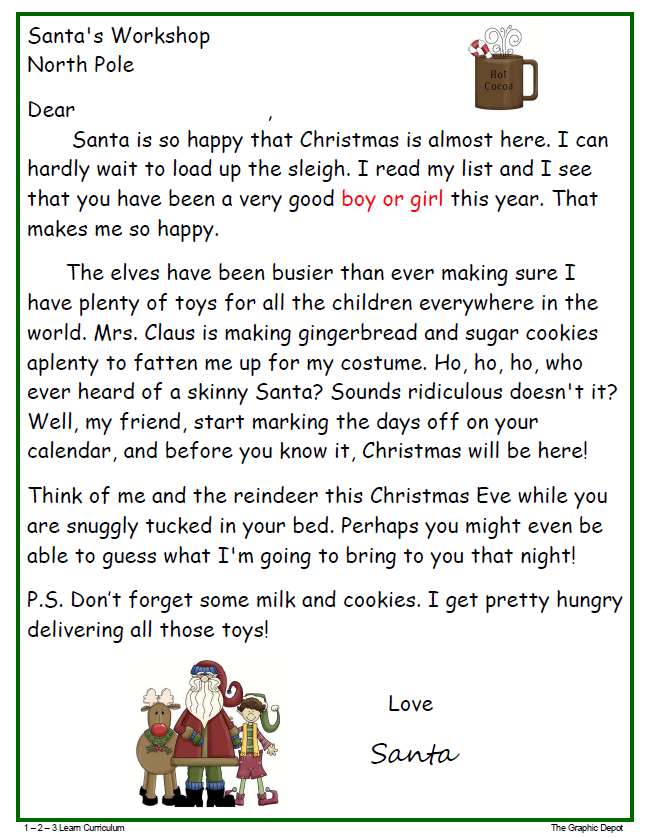 Free Santa letter to print up. You have the option of boy