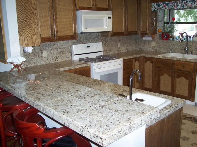 tile kitchen countertops cupboards kitchen and bath when trends attack granite tile counters - Tile Kitchen Countertops Ideas