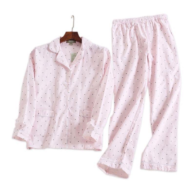 0010435ff7a7 Pink polka dot cute women pajama sets Autumn long sleeve 100% brushed cotton  cozy sleepwear women pyjamas