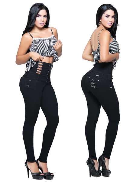 Black Colombian High Waisted Jeans  Yallure  Colombian -5656