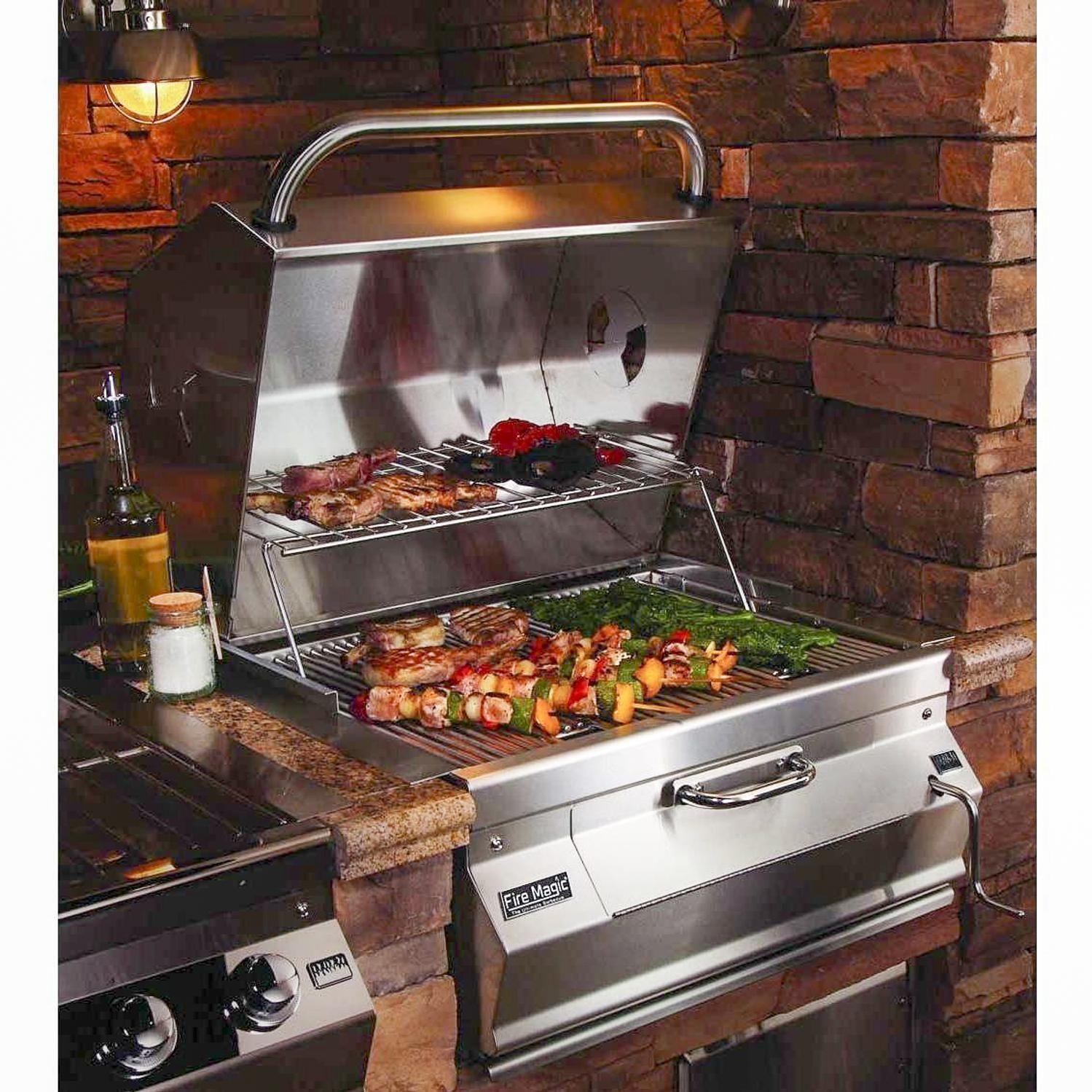 Fire magic legacy 24inch builtin smoker charcoal grill