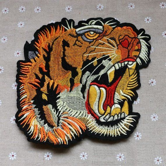 6c6c1f3d322 Large Tiger Head Embroidery Applique Patch