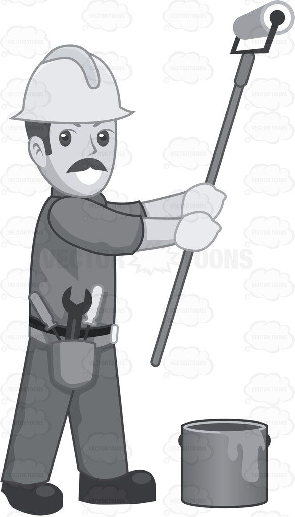 A Construction Worker Painting A Wall Painting Construction Worker Cartoon Clip Art