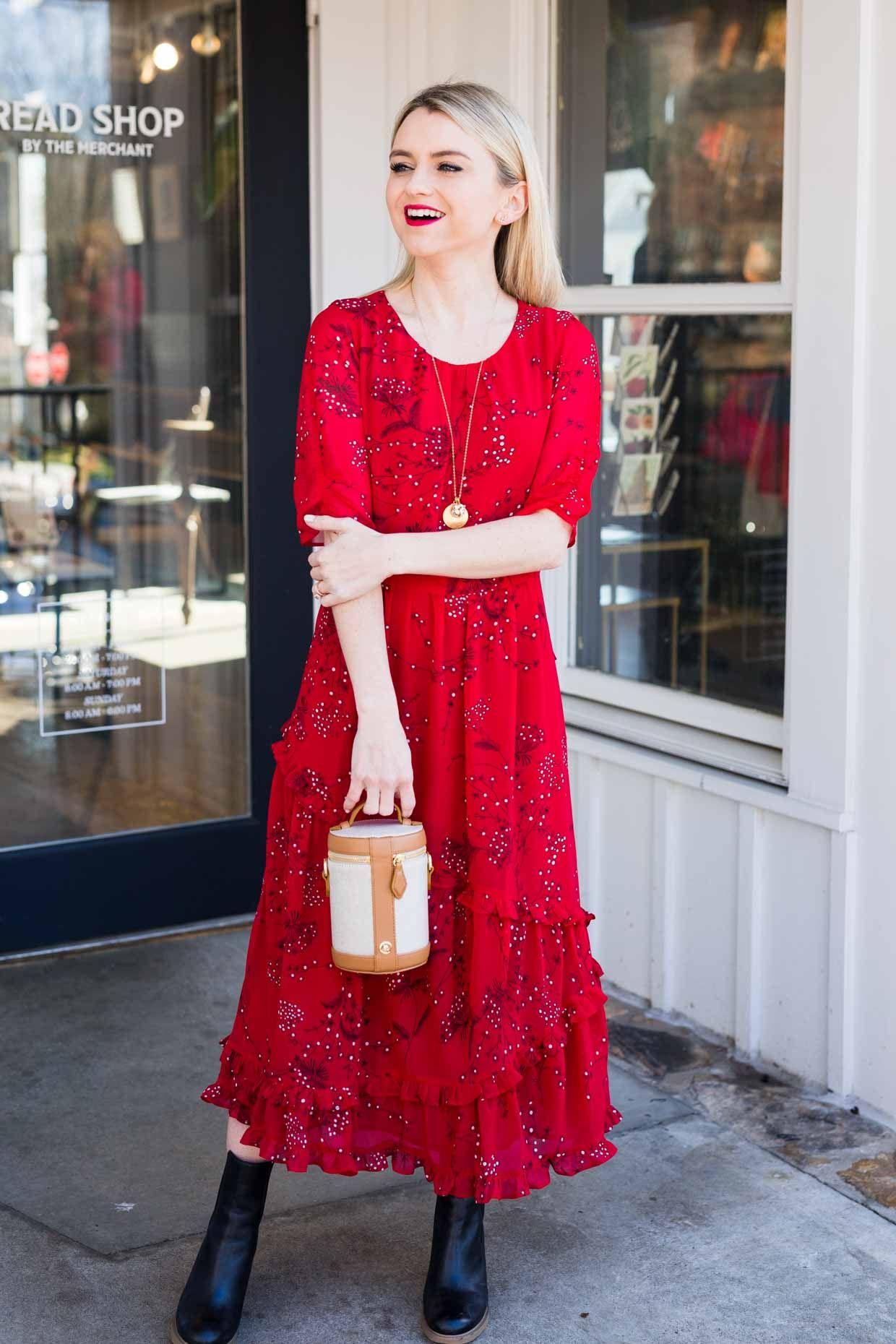 3d240bf891c Red floral print ruffled midi dress+black ankle boots+brown handbag+ ...
