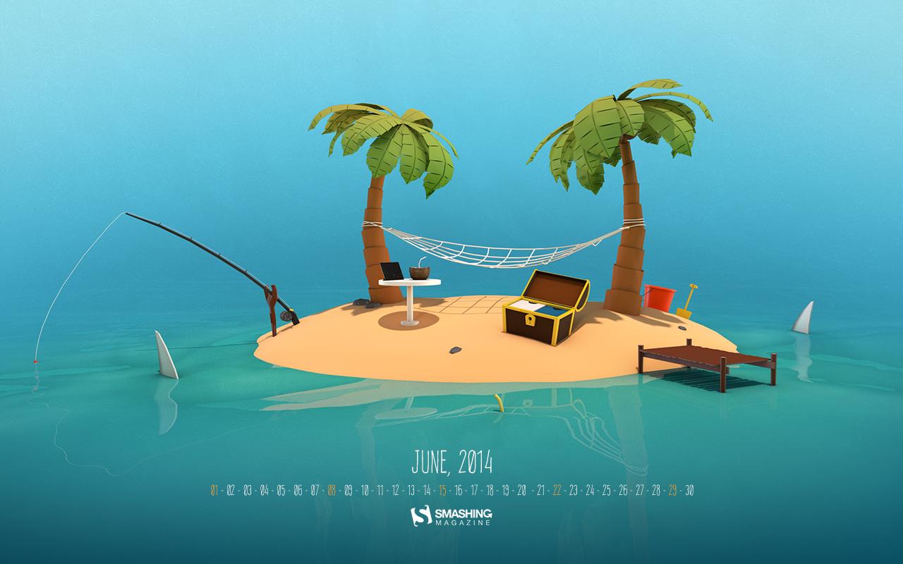 Tropical Island June Calendar Wallpaper