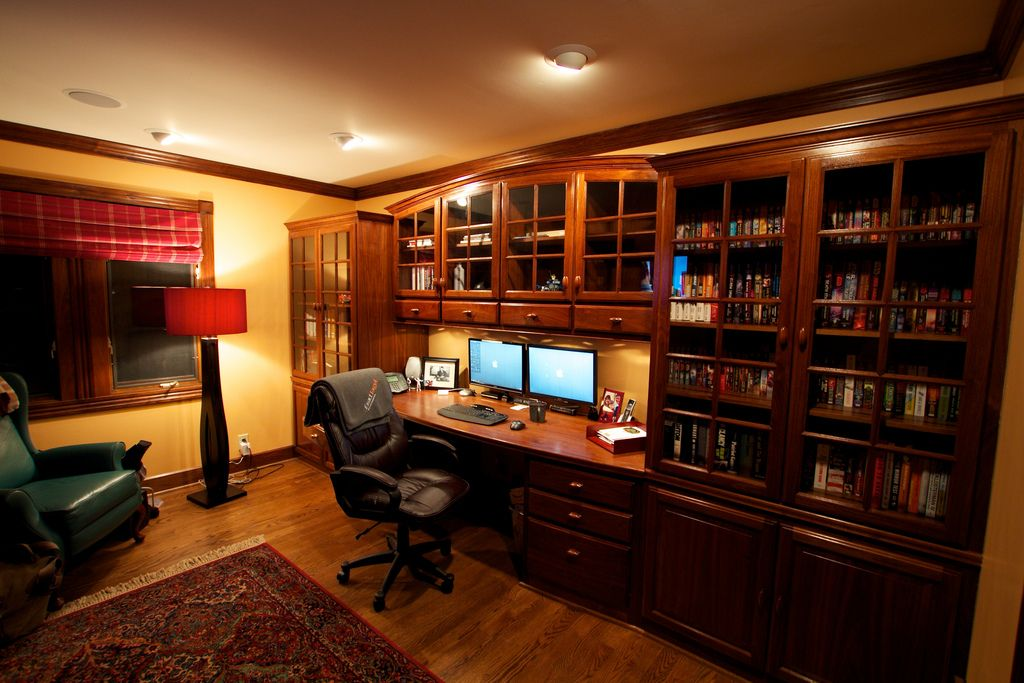 Sophisticated Home Study With A Dual Monitor Workstation