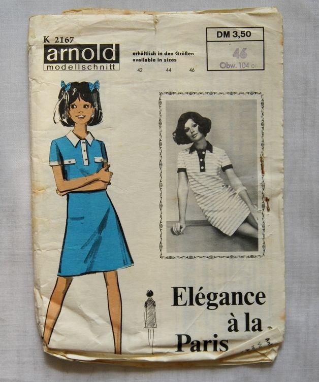 Arnold 2167-Vintage Schnittmuster - 60er Hemdblusenkleid Schnitt 46 ...