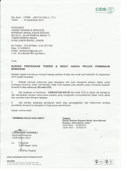 Kursus Cidb Kursus Kontraktor Surat Kelulusan Menganjurkan Kursus Cidb Anjuran Johor Bahru Surat