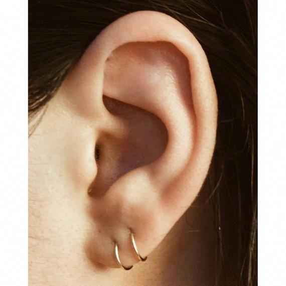 Tiny Hoop Earrings Pair Cartilage Gold Hoops Ear Hugger Small Sleepers Hoopearrings