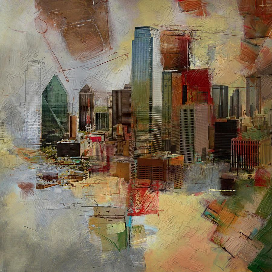 'Dallas Texas Skyline II' Framed Graphic Art on Canvas