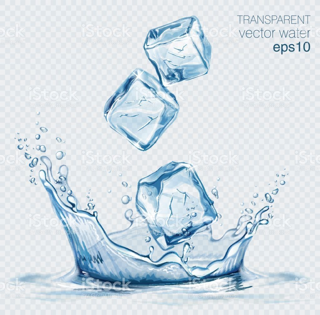 Transparent Vector Water Splash And Ice Cubes On Light Background Ice Cube Drawing Aqua Art Water Splash Vector