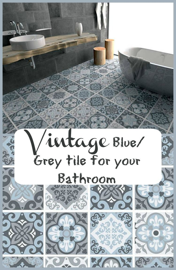 This Would Look Great In My Bathroom Love This Vintage Blue Grey Tile Decal Floor Tile Decal Bathroom Flooring Kitchen Floor Grey Tiles Grey Floor Tiles Kitchen Flooring