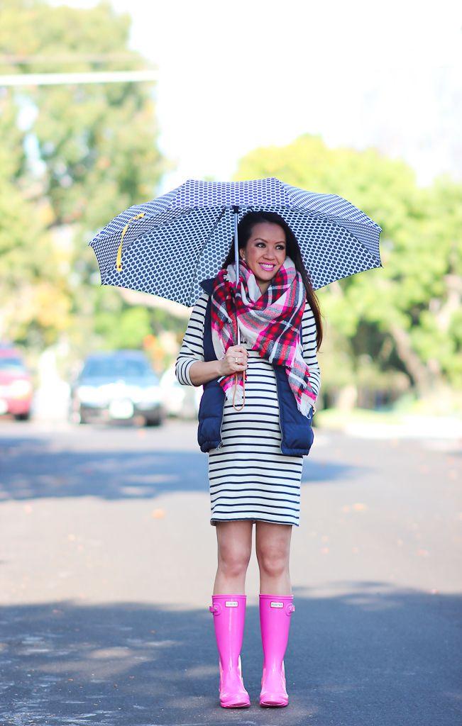 Stripes, Navy Vest and Pink Hunter Boots | Stylish Petite | Rain ...
