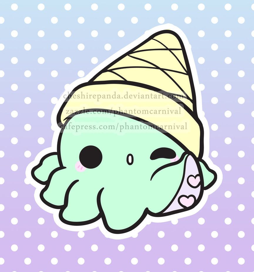 Octi cream kawaii octopus ice cream cone possible for Cute octopus drawing