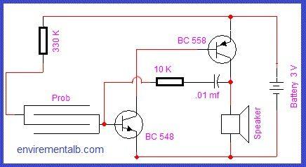 Rain Alarm Circuit using Transistors en 2020 | Circuito ...