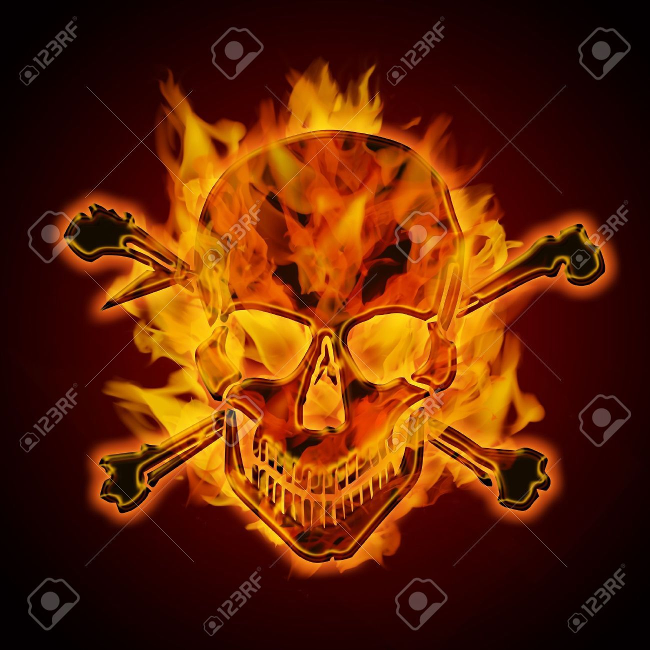 Fire Burning Flaming Metal Skull With Crossbones On Dark ...