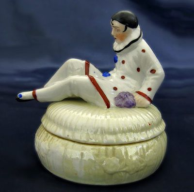 1930's ART DECO GERMANY SITZENDORF FIGURAL PIERROT HALF DOLL POWDER JAR BOX | eBay