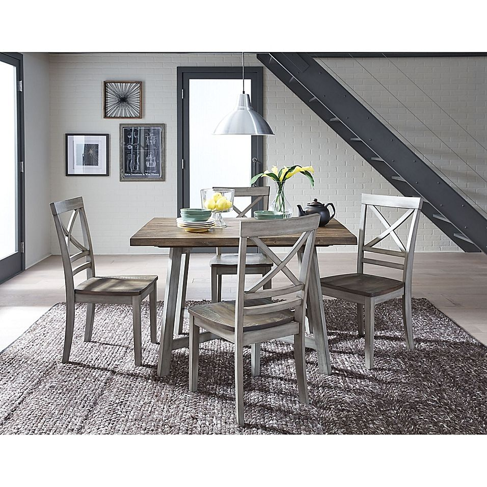 Standard Furniture Fairhaven 5 Piece Dining Set In Rustic Grey In