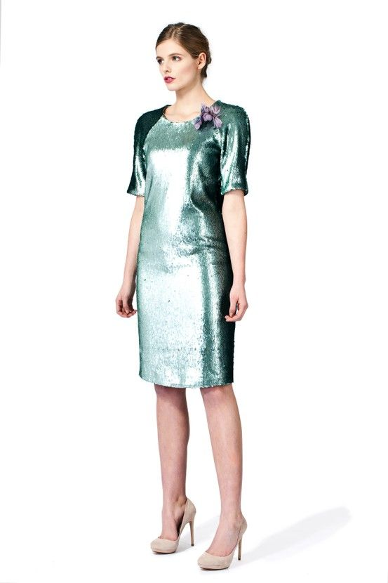 PLAKINGER Debut Collection straight silhouette turquoise dress.  byplakinger.com