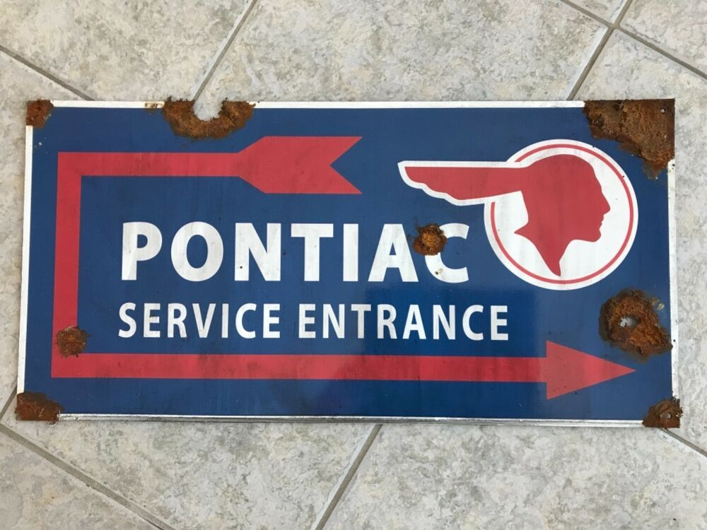 Antique Style Vintage Look Gm Pontiac Dealer Service Indian Arrow