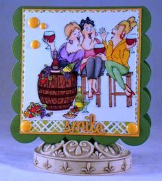 Art Impressions Rubber Stamps: Ai Girlfriends: Wine Tasters Set. Handmade friendship card.