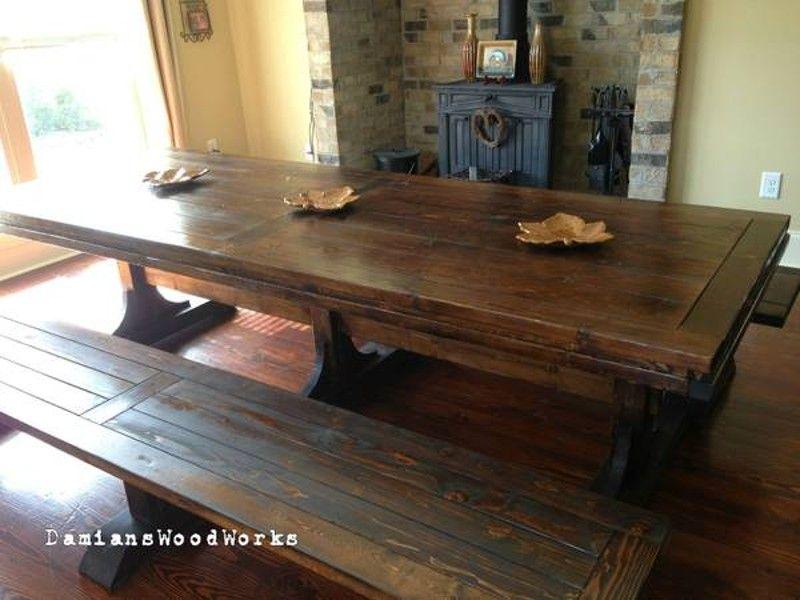 Custom Made 7 Foot Long Triple Pedestal Farmhouse Table 1 150