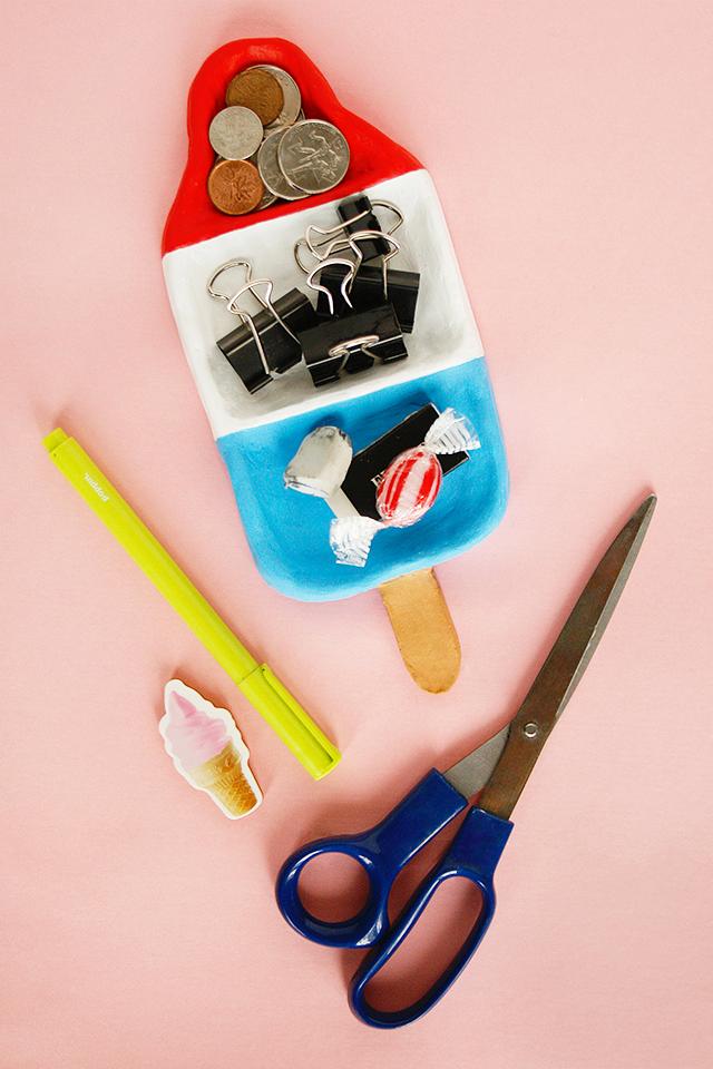 DIY: rocket pop desk organizer #Clay #IceCream #Popsicle #Dish #Organize #Decor