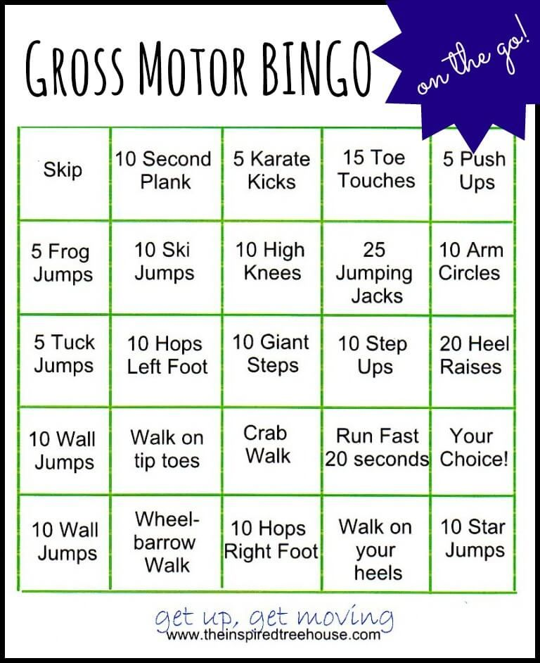 Gross Motor Activities Bingo On The Go Gross Motor