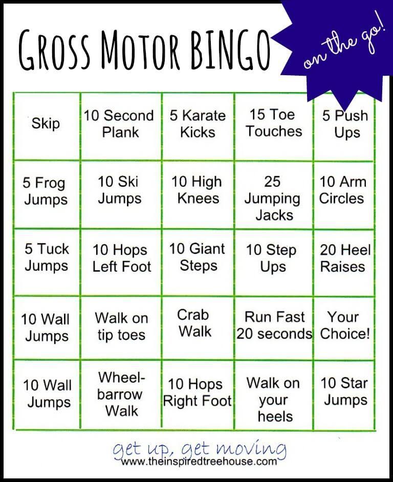 Gross motor activities bingo on the go gross motor for Winter themed gross motor activities
