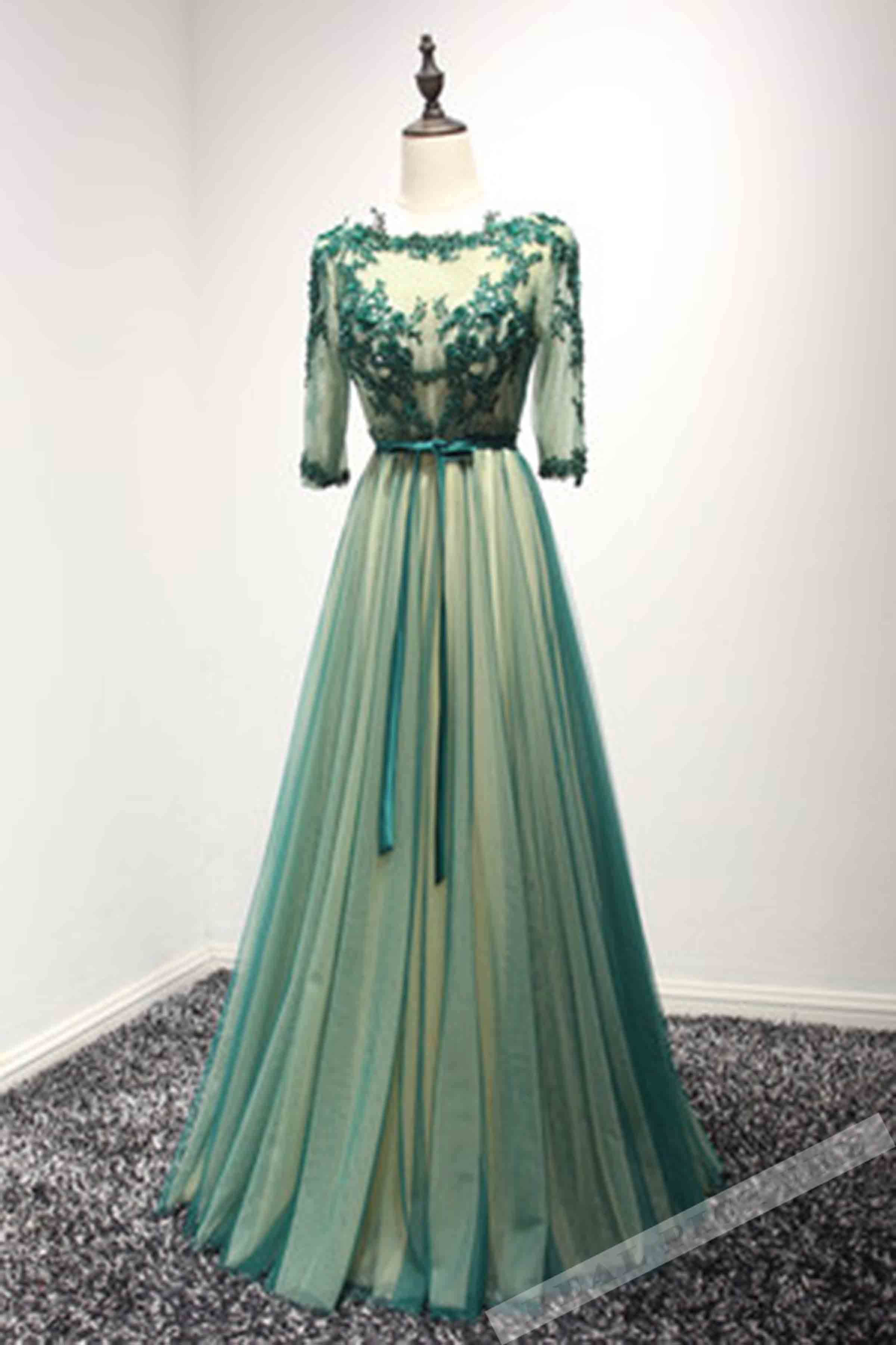 Green tulle lace applique long prom dress,formal dress from