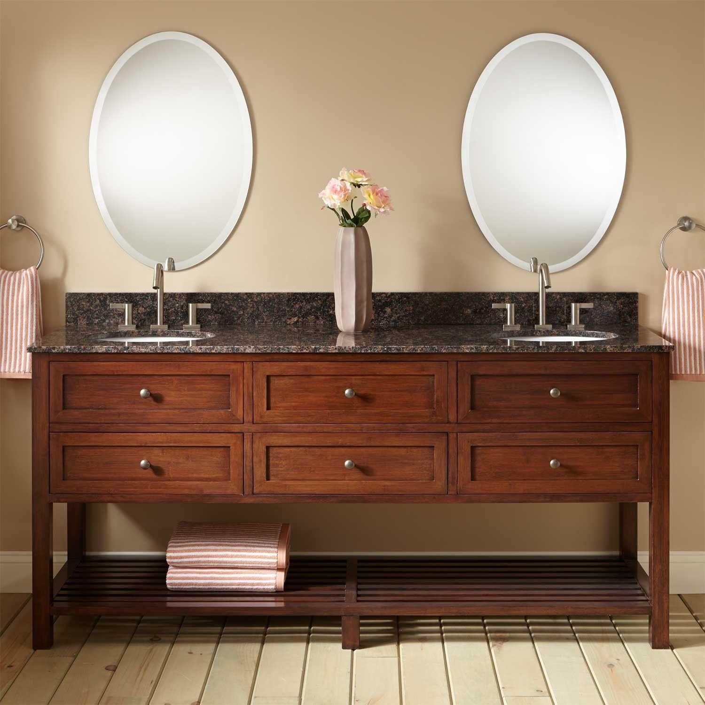 72 taren bamboo double vanity for undermount sink light espresso - Bamboo Vanity Bathroom