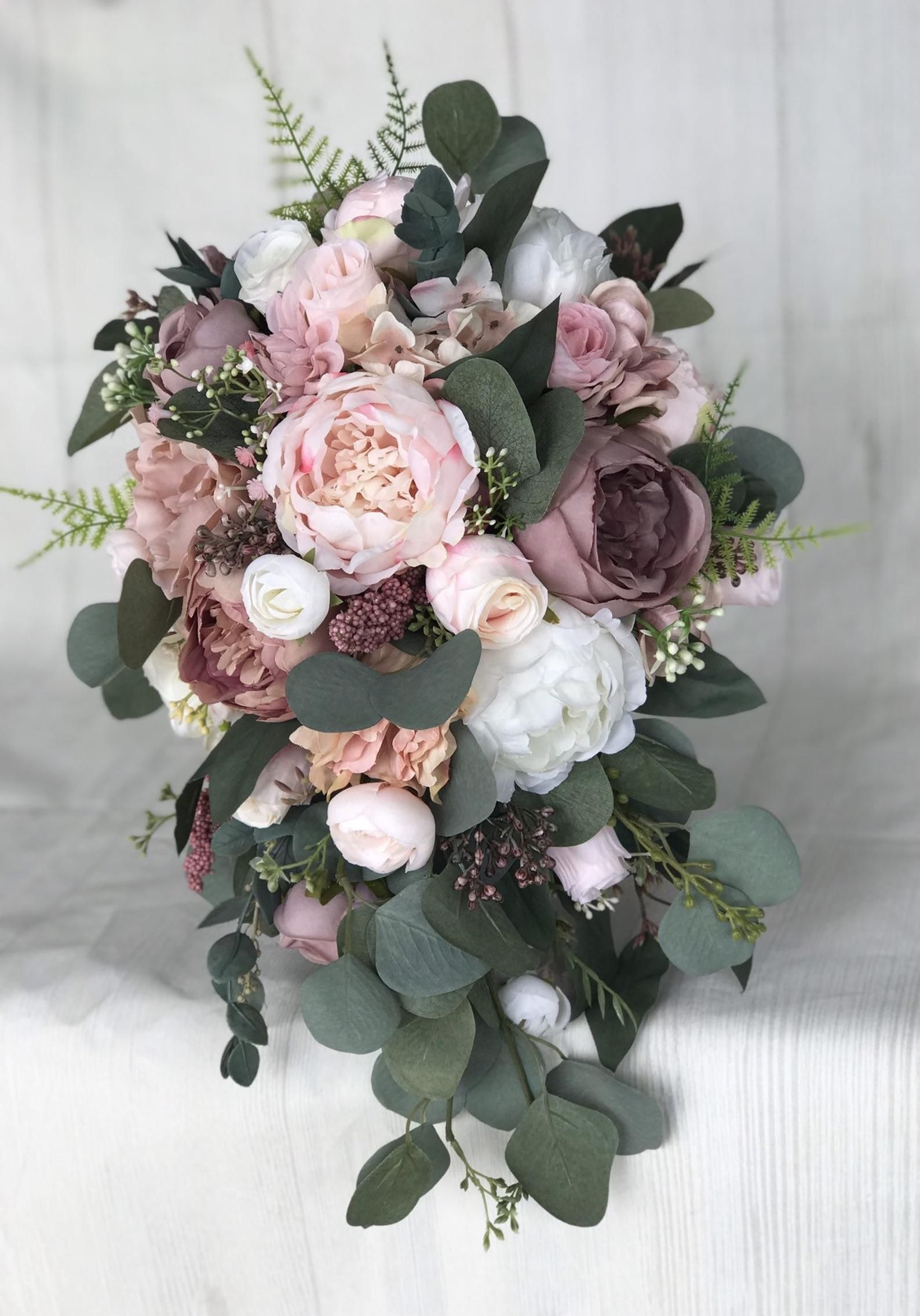 Wedding bouquet, Dusty Rose Bridal bouquet, Cascade bouquet, Blush Wedding bouquet, Mauve/Dusty Rose Wedding flowers, Silk Bridal bouquet