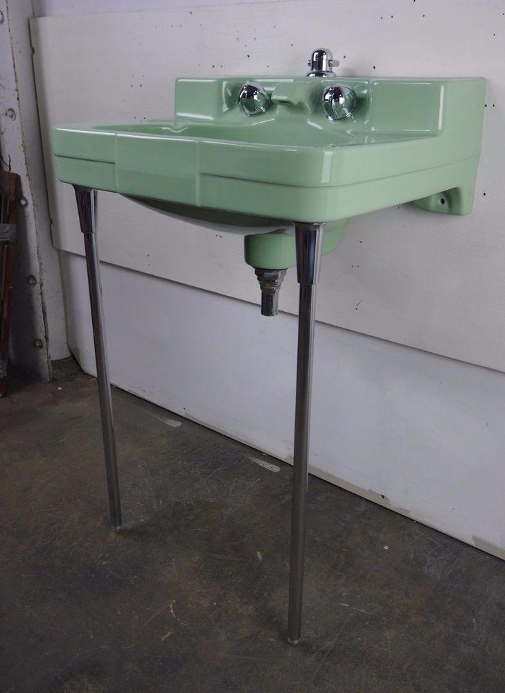 Antique Vintage Crane Drexel Pale Jade Sink W Legs Rebuilt Faucet