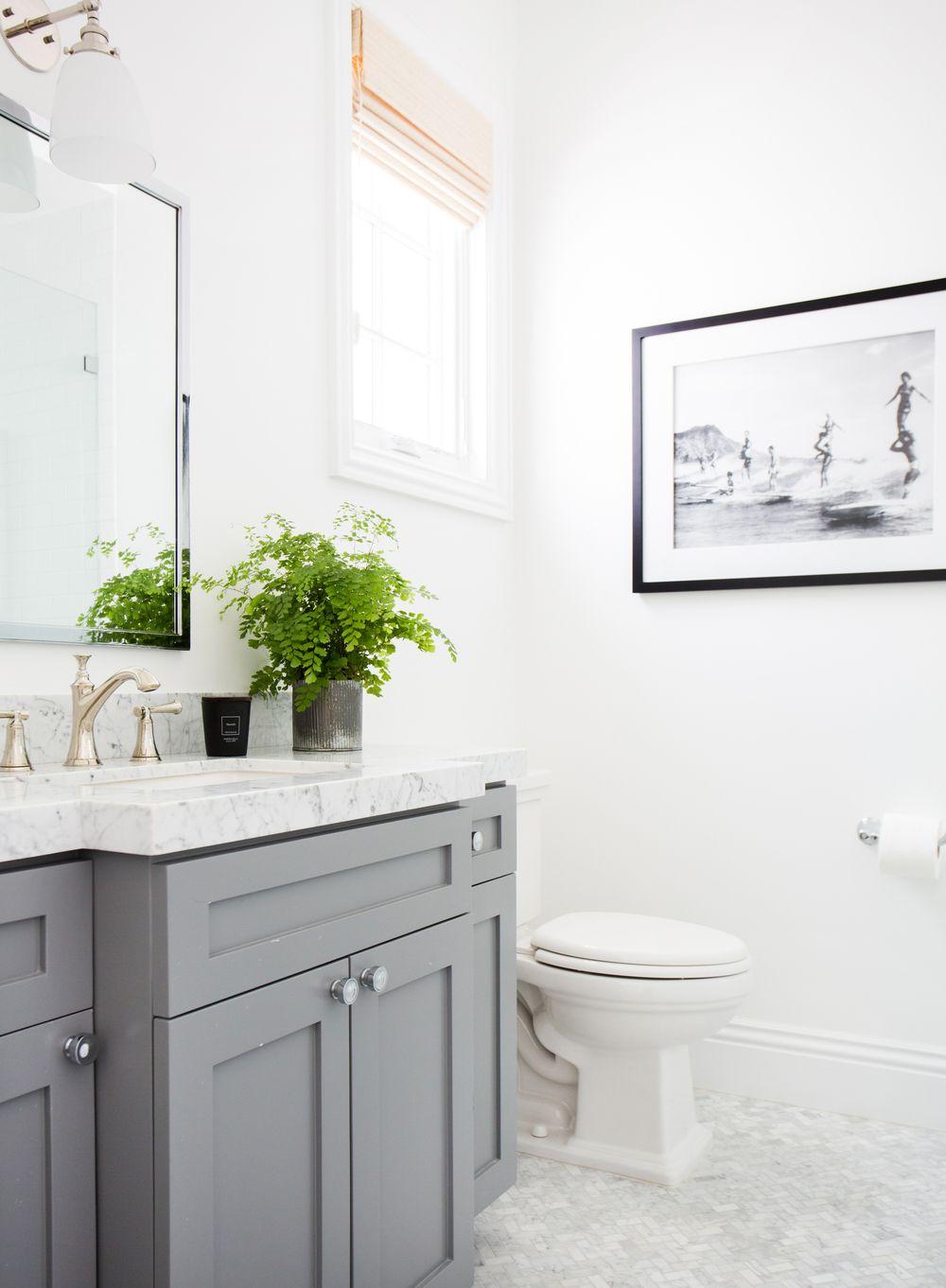 Bathroom With Benjamin Moore Chelsea Gray Vanity And B W Artwork