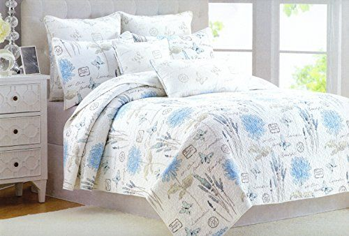 Amazon Com Cynthia Rowley Cotton 3 Piece Double Full Queen Quilt Set Reversible Blue Grey Sage Green Whi King Quilt Sets Quilt Sets Queen French Country Quilt