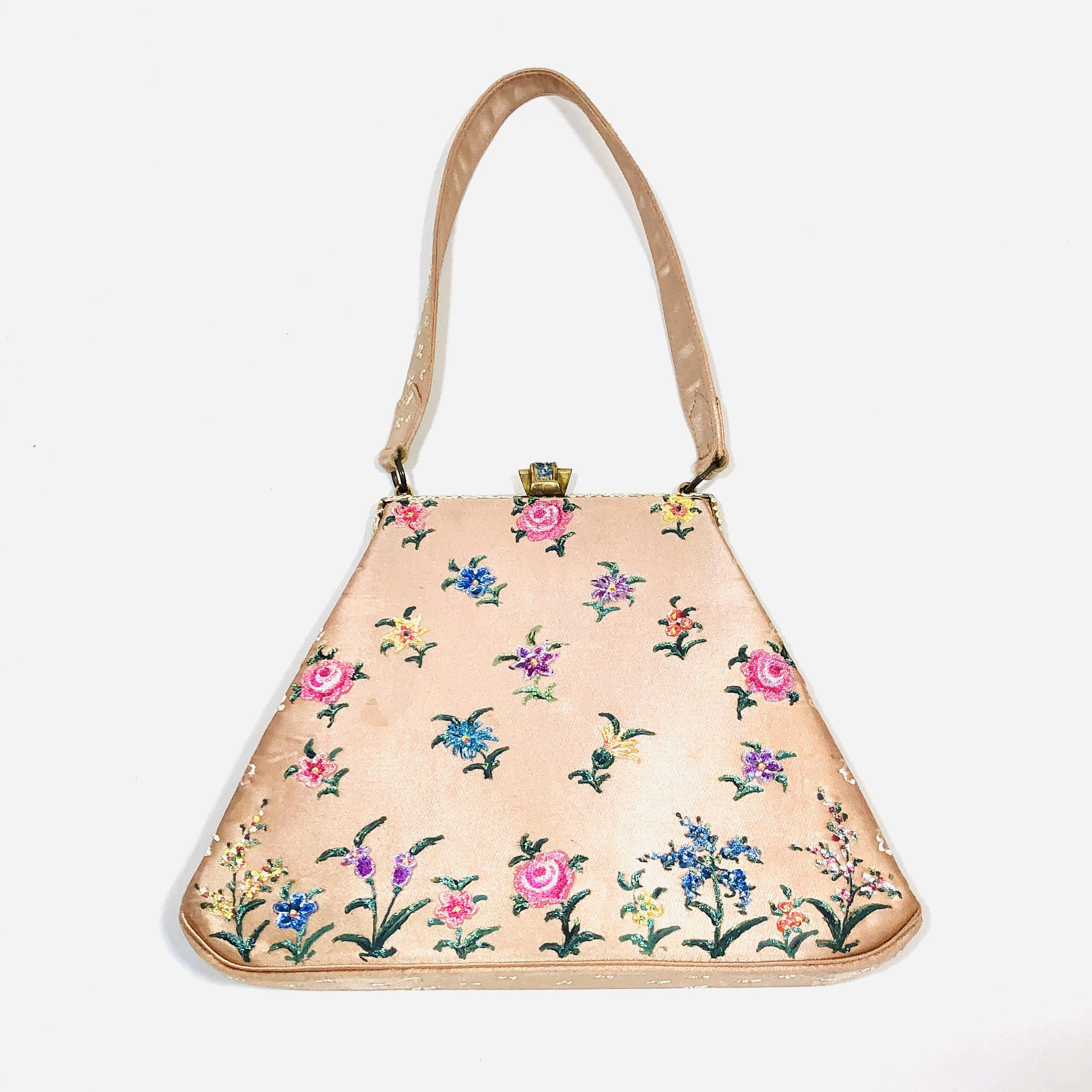 Vintage 1940s Waldybag Hand Painted Beaded Satin Bag Pink Etsy In 2020 Satin Bags Hand Painted Purses Painted Purse