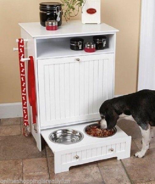 Dog Cat Food Cabinet Feeding Station Kitchen Pet Furniture Storage Feeder Bowl