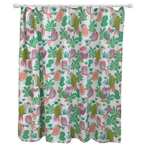 Pillowfort Seahorse Kids Shower Curtain Pom Pom Trim Pink Green Multi New