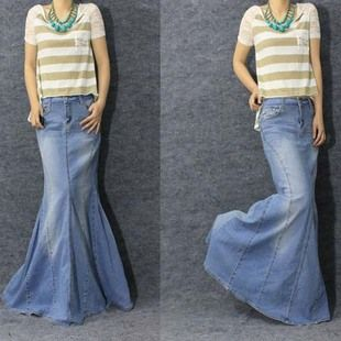 Free Shipping 2013 Spring Ladies Fashion Long Denim Fish Tail Jean ...