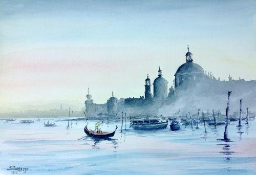 Venise Lagune En 2020 Venise Aquarelle Peinture Aquarelle