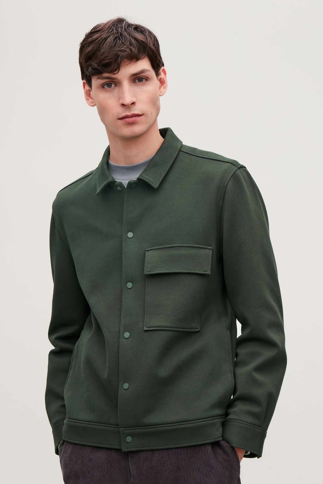 c5c57ed49 Model side image of Cos cotton-twill shirt jacket in green | Cloth ...