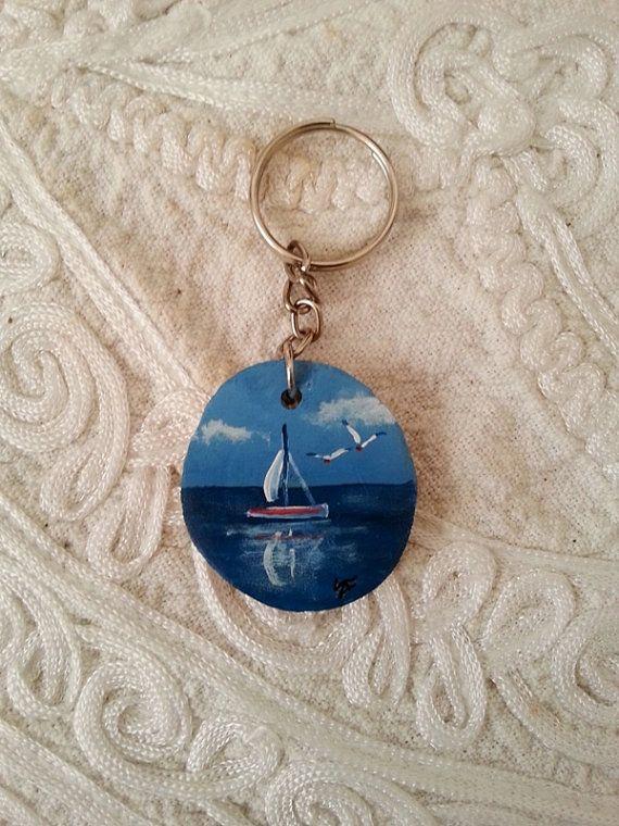 Sailboat keychain wood keychain sea painted keychain by AxiKedi