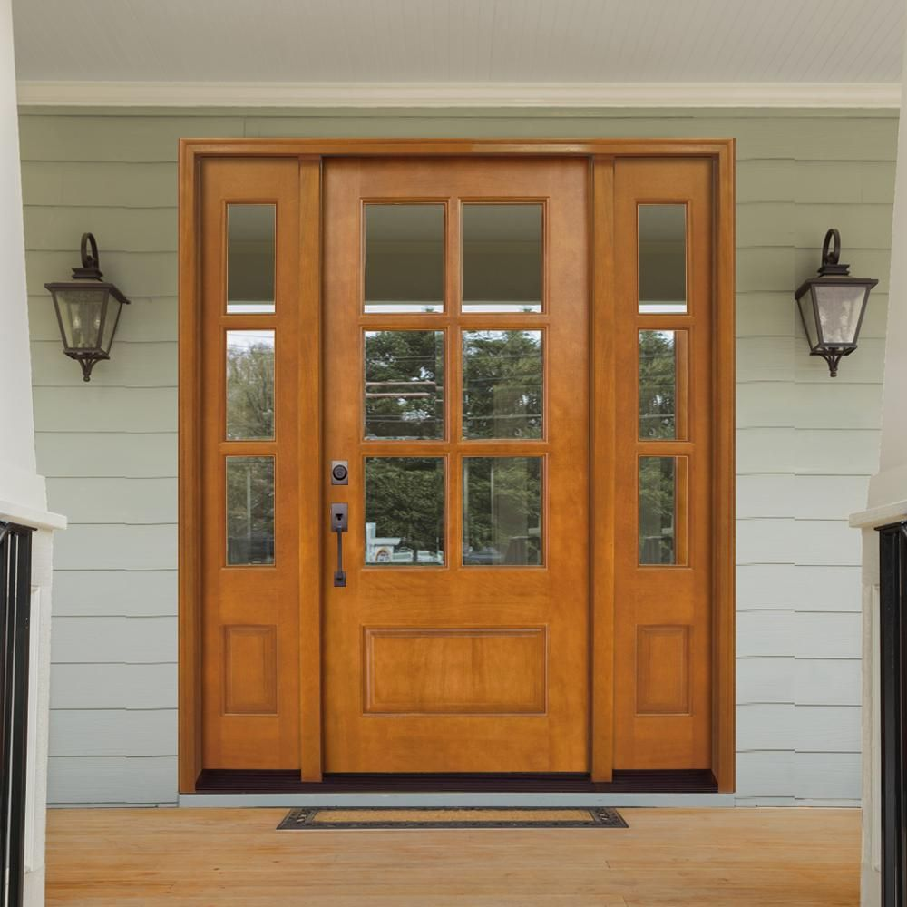 Steves Sons 64 In X 80 In Craftsman Savannah 6 Lite Rhis Autumn Wheat Mahogany Wood Prehung Front Door With Double 12 In Sidelite M6410 123012 Aw 4irh Th In 2020 Craftsman Front