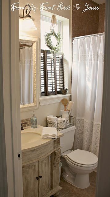 Love the shutter for privacy vs blinds or curtain country home pinterest toilets for Bathroom window treatments privacy