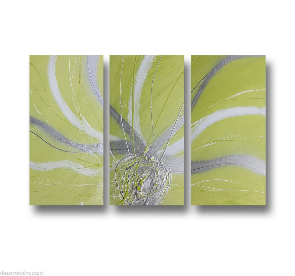 Abstract art canvas painting lime green silver white