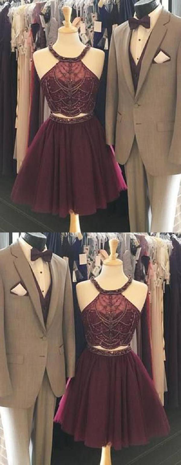 Short prom dress prom dress prom dress red two pieces prom